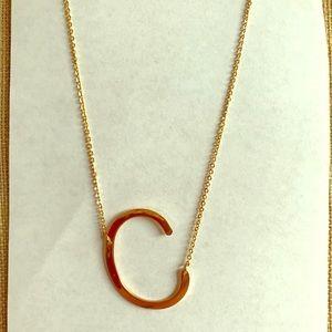 Monogram pendant necklace initial C Anthropologie